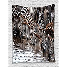 Ambesonne Wildlife Wall Decor Collection, Zebras Drinking Water in Tanzania Natural Picture and Migration of Animal Word, Living Dining Room Accessories Wall Hanging Tapestry, Black White Brown
