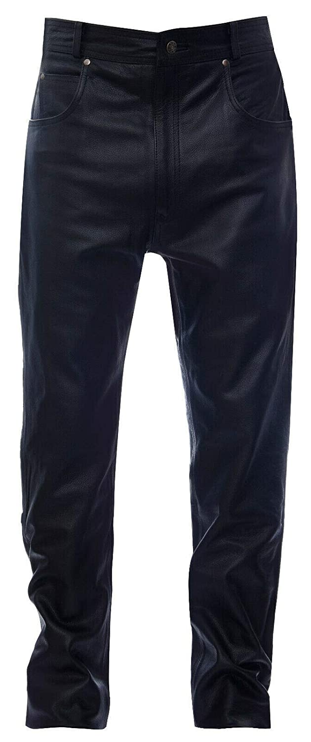 Infinity Mens Leather Classic Motorcycle Biker Trousers Jeans Pants 32