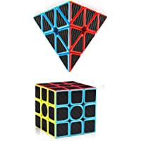 Assemble Carbon Fiber 3x3 Pyramid Speed Cube Bundle 3 by 3 Pyramid Speed Cubes Set Magic Cube Puzzle Toys for Kids