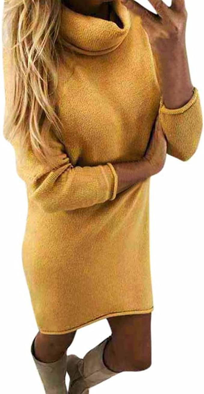 Pulli Kleid Damen, Winter Mode Frauen Fester Rollkragen Strickjacken Langes  Beiläufiges Langes Hülsen Pullover Kleid Sunday