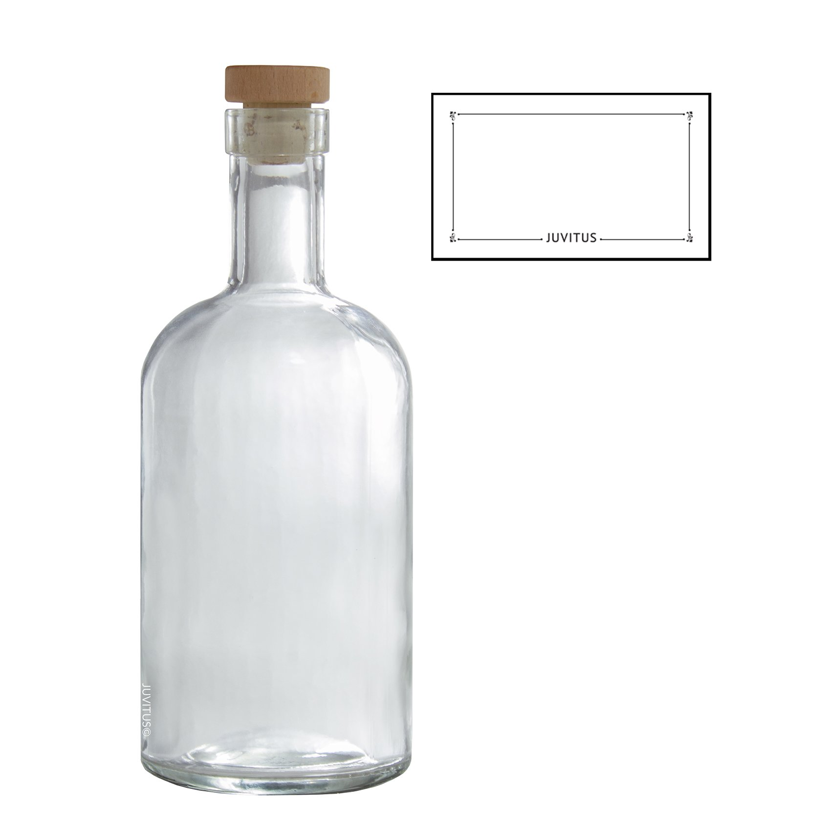 25 oz / 750 ml Clear Heavy Thick Wall Glass Bar Top Bottles w/ Tight Fit Natural Cork Top + Label
