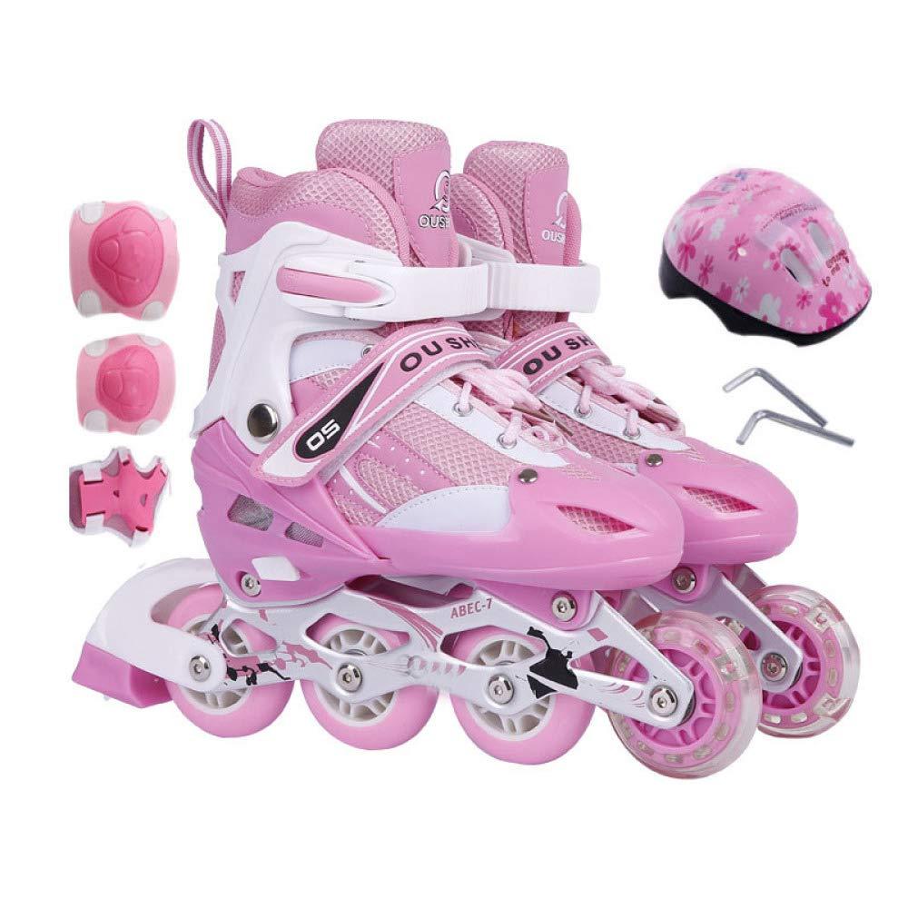 PIAOL Skate Regolabile per Bambini Completo di Certificazione di Sicurezza per I Pattini,rosaA-M