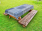 Lunarable Arabian tablecloths, Arabesque Eastern Motifs with Geometric Lines Asian Ethnic Ornate Ottoman Element, Decorative Washable Picnic Table Cloth, 58 X 84 inches, Blue White