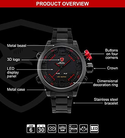 Amazon.com  SHARK Men s Sport LED Quartz Stainless Steel Band Wrist Watch  Date Day Alarm SH105  Watches 95fdb53d3d5