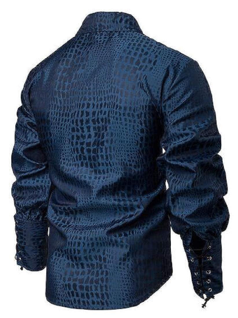 Jotebriyo Men Plaid Check Long Sleeve Victorian Button Down Medieval Stylish Shirt