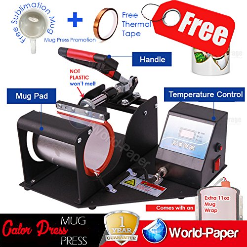 Heat Press Machine Mug Press, Mugs and Sublimation - Transfer MUGS Machine!! (11 Oz Single Mug Press, Copper Gift: Christmas Vinyl Color-Pack) by world-paper