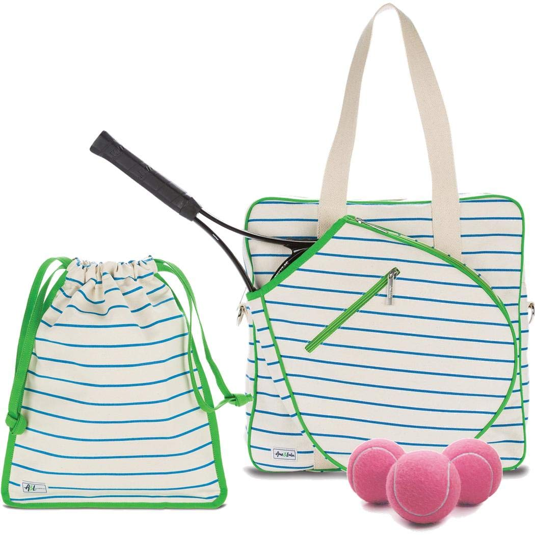 Ame & Lulu On Tour Large Tennis Court Bag Bundled with a Matching Drawstring Shoe Bag and a Can of Pink Tennis Balls (Quinn)