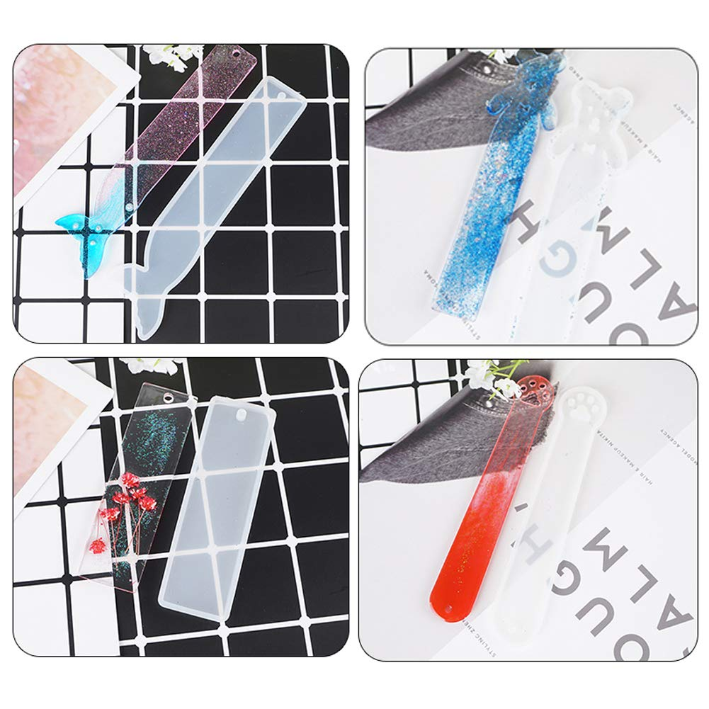 Jatidne 6pcs Resin Moulds Bookmark with Tassels Silicone Bookmark Moulds for Resin Crafting Rectangle, Cat Claw, Cute Bear, Mermaid Tail