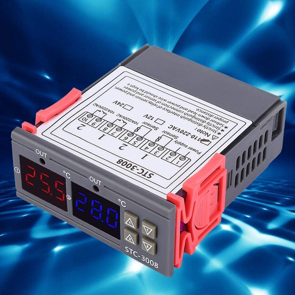 12V Filfeel wosume Controlador de Temperatura STC-3008 Termostato Inteligente Digital Interruptor de Controlador de Temperatura Ajustable con Doble NTC