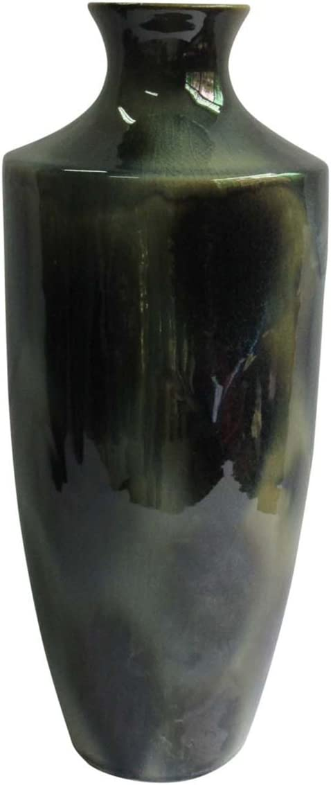 "Sagebrook Home 13400-01 Ceramic Vase, 8.25"" x 8.25"" x 20"", Green Mix"