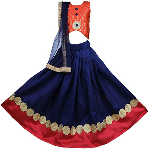 a2aff537d3 New Creationss Girl's Silk Embroidered Lehenga Choli Set with Dupatta  (Blue, 2-3