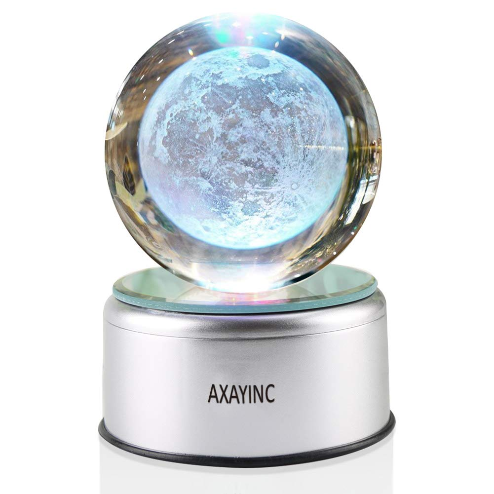 AXAYINC 3D Moon Lamp Crystal Ball Night Light with Stand 7 Colors Change Lunar Moonlight for Kids Baby Bedroom Decor Birthday Gift 80mm