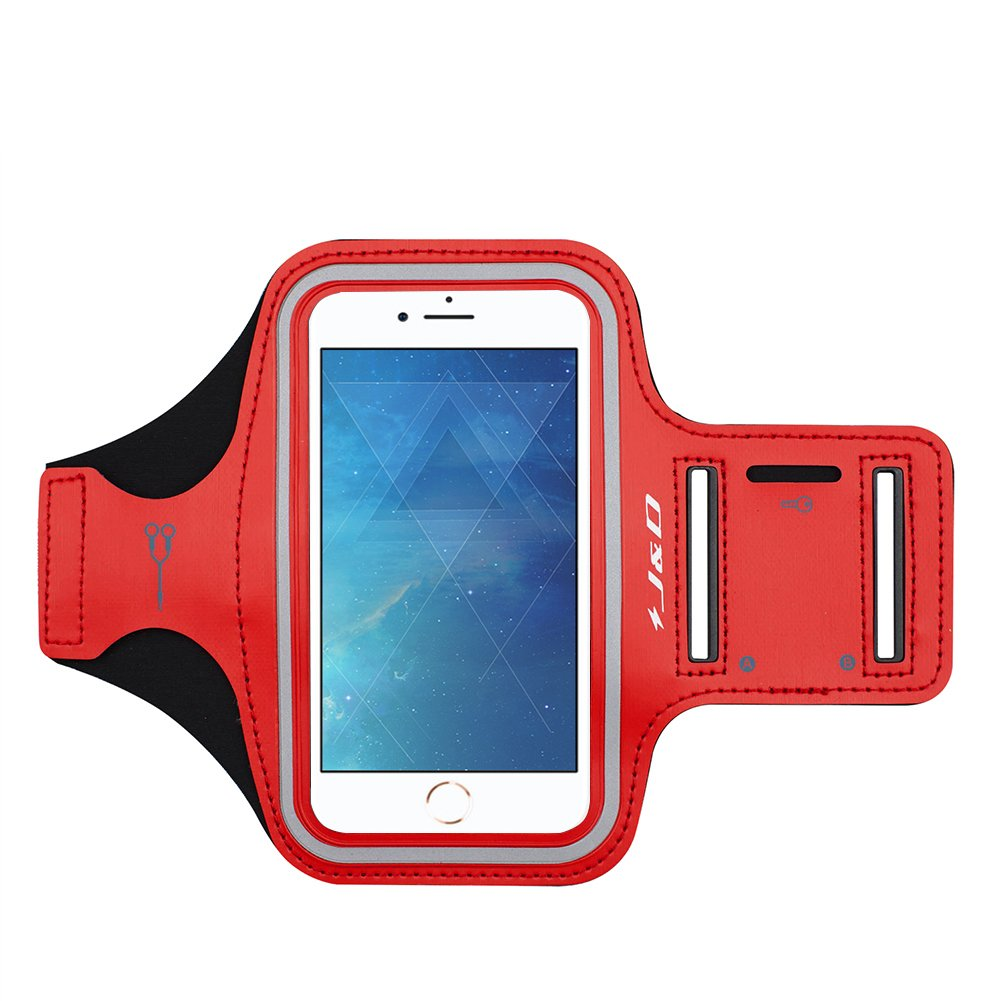 iPhone 8 Plus / iPhone 7 Plus Armband, J&D Sports Armband for Apple iPhone 8 Plus, Apple iPhone 7 Plus, Key holder Slot, Perfect Earphone Connection while Workout Running - Blue J&D Tech