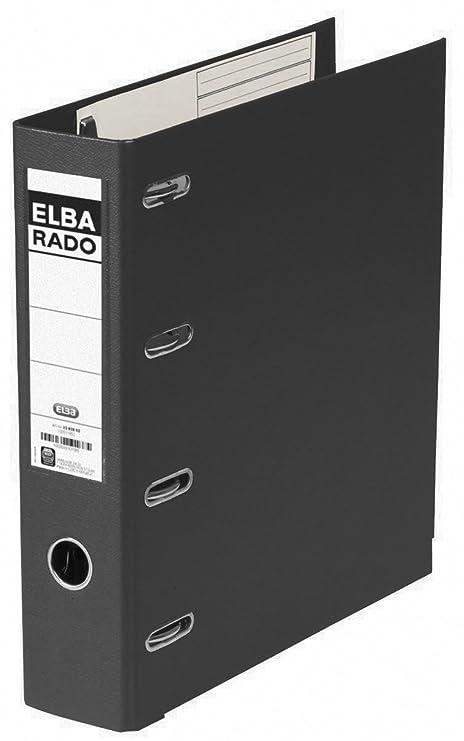Elba Rado Plast - Archivador palanca en PVC, A4, color negro