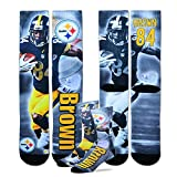 For Bare Feet Pittsburgh Steelers Youth Size NFL Drive Crew Kids Socks (4-8 YRS) 1 Pair - Antonio Brown