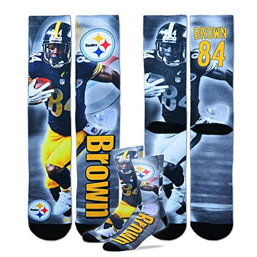 For Bare Feet Pittsburgh Steelers Youth Size NFL Drive Crew Kids Socks (4-8 YRS) 1 Pair - Antonio Brown by For Bare Feet