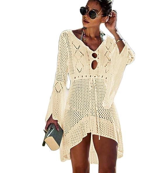 368ba45b414ba LisaChan Beach Cover up Women Crochet Knitted Dress Tunic Gown Blouse Long  Pareos Bikinis Cover ups