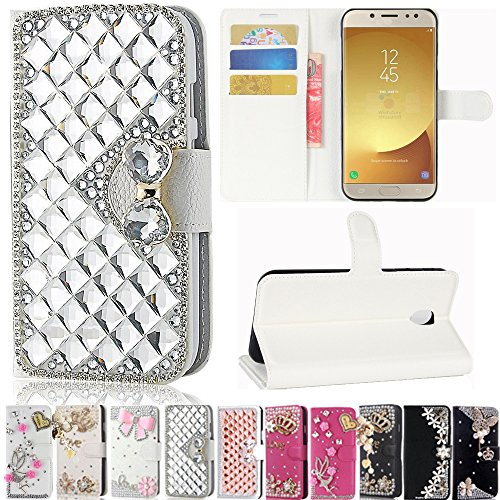 J7 Pro J730G 2017 Case, Best Share Manual Bling Flip Stand PU Leather Wallet Full Cover Silicone Case Card Slot for Samsung Galaxy J7 Pro J730G 2017, White-Silver Crystal -