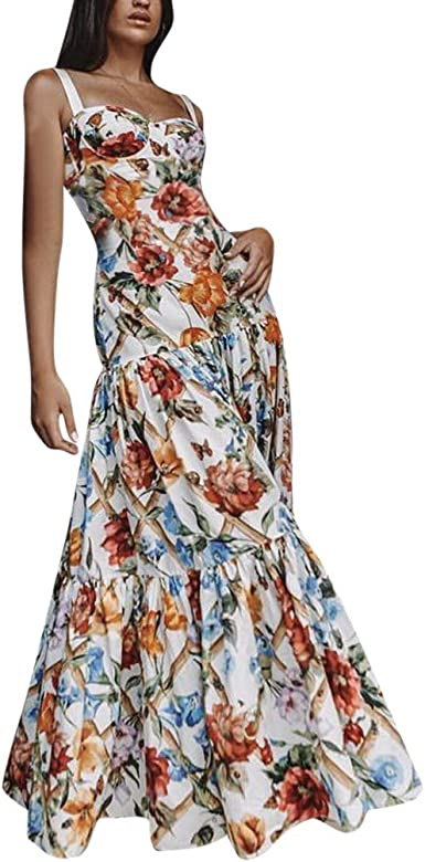 Womens Summer Casual Floral Printed Tank Maxi Dresses Sleeveless Long Party Beach Cocktail Dress with Pockets Flower Blue, Medium