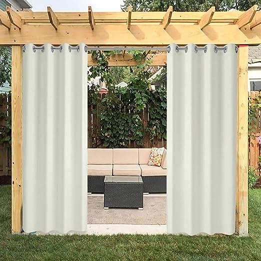 Cortinas para exteriores, cortinas para jardín, cortinas para balcón, cortinas opacas con ojales, cortina resistente al agua Mehltau resistente para cenador, 1 pieza, 132 x 215 cm, color crema y blanco: Amazon.es: Jardín