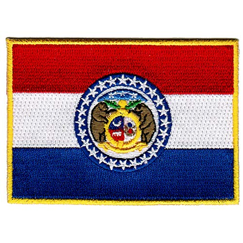 Missouri State Flag Embroidered Patch Iron-On MO Emblem