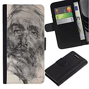 APlus Cases // Sony Xperia Z1 Compact D5503 // Arte Dibujo lápiz retrato viejo hombre // Cuero PU Delgado caso Billetera cubierta Shell Armor Funda Case Cover Wallet Credit Card