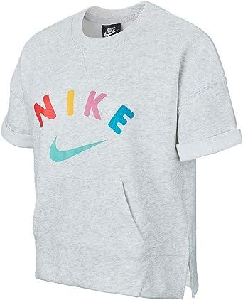 Nike T shirt pour fille Crew Gris S: