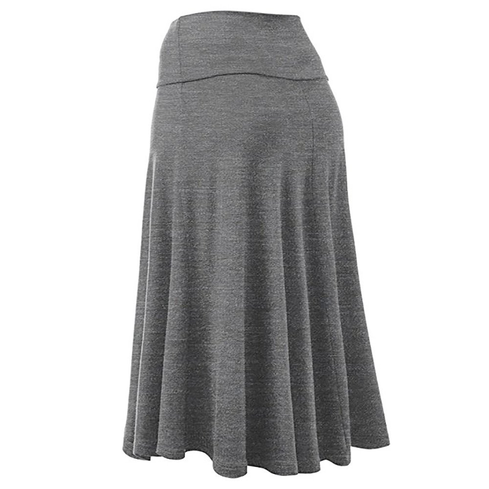 Hunzed Women【Solid Color Skirt】 Womens Solid Lightweight Knit Elastic Waist Flared Midi Skirt