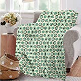 Luoiaax Retro Commercial Grade Printed Blanket Polka Dot Pastel Pattern Queen King W60 x L70 Inch