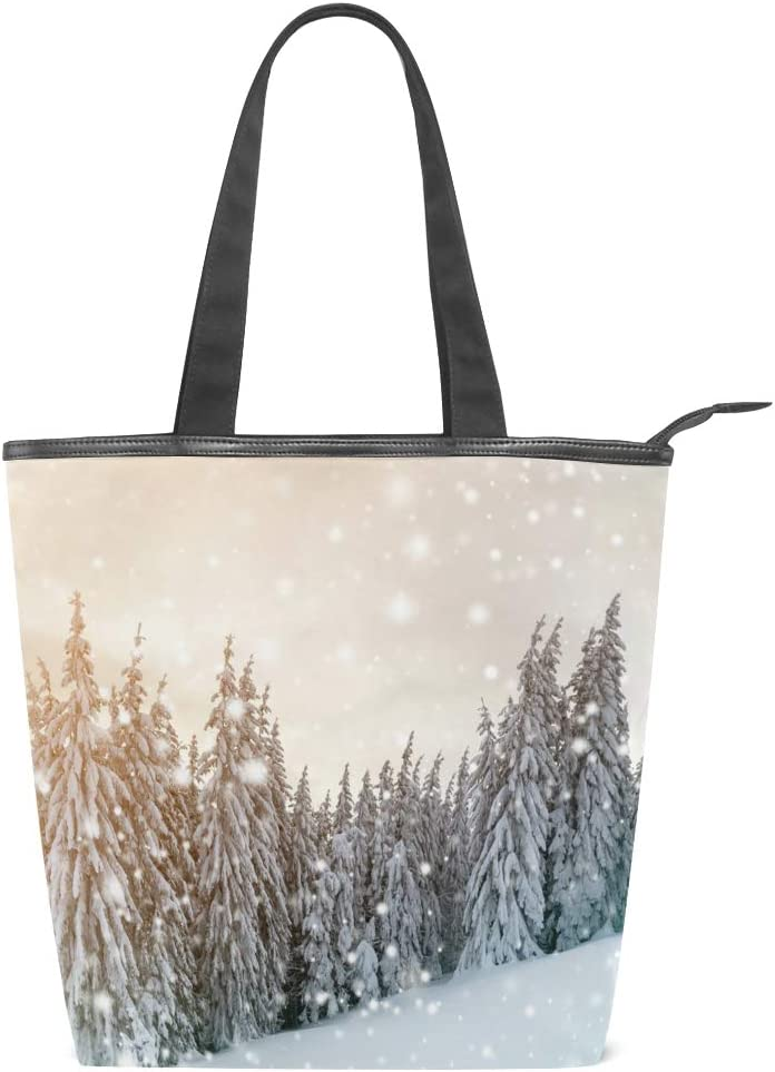 Forest Covered With Snow In Winter Landscape Canvas Tote Bag,Fashion Large Capacity Handbag for Women Travel