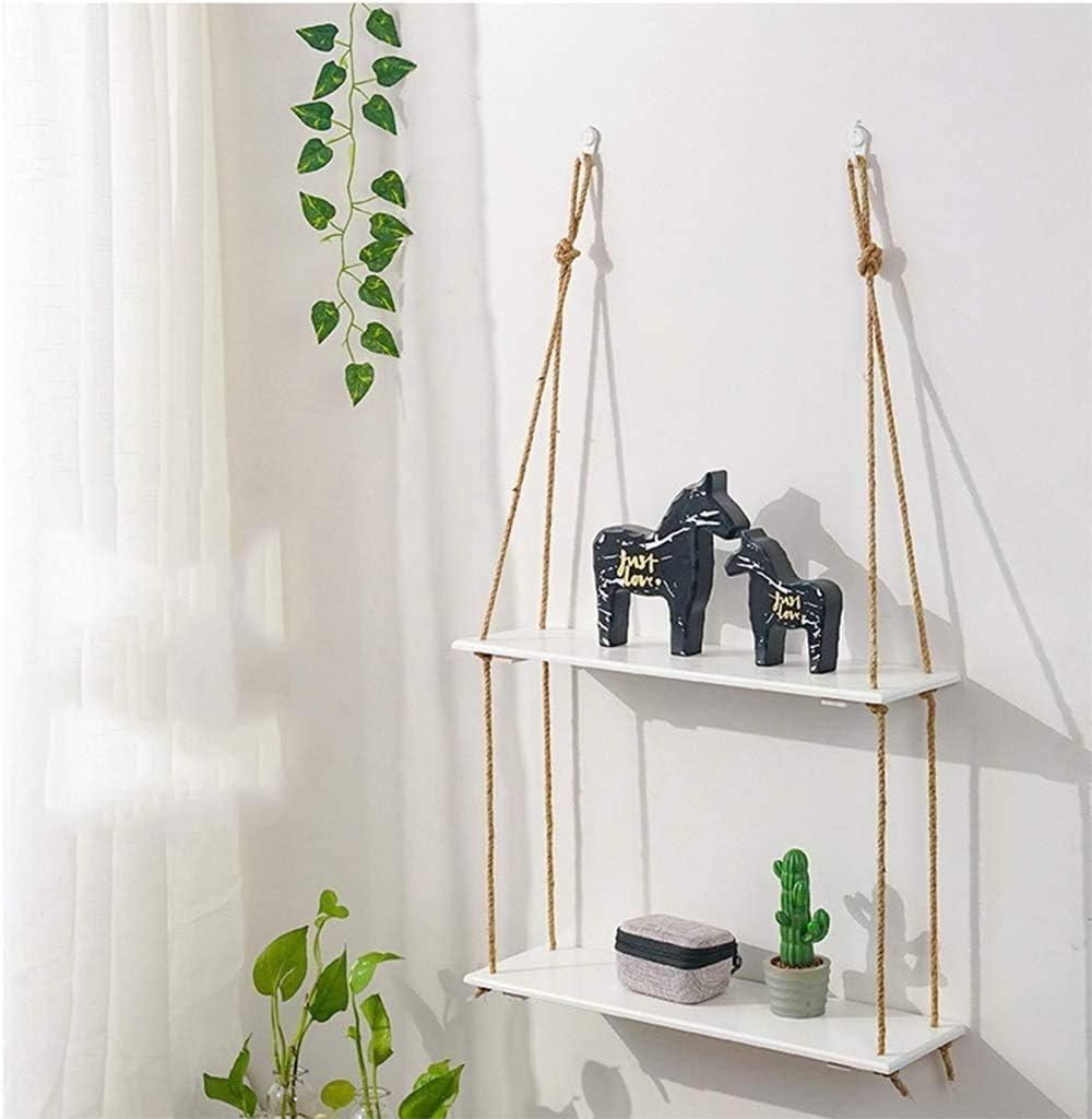 Scaffale Decorativo da Parete Scaffale in Legno Massello con Corda da Punzonatura Gratuita B-S Hqq Mensola da Bagno Sospesa a Combinazione