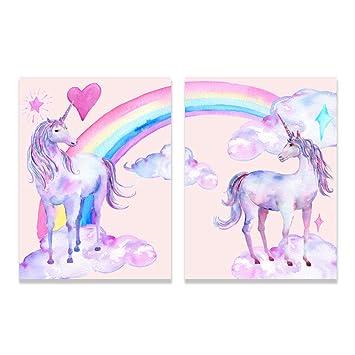Violet Verveine Art Dessin Animé Arc En Ciel Avec Licorne