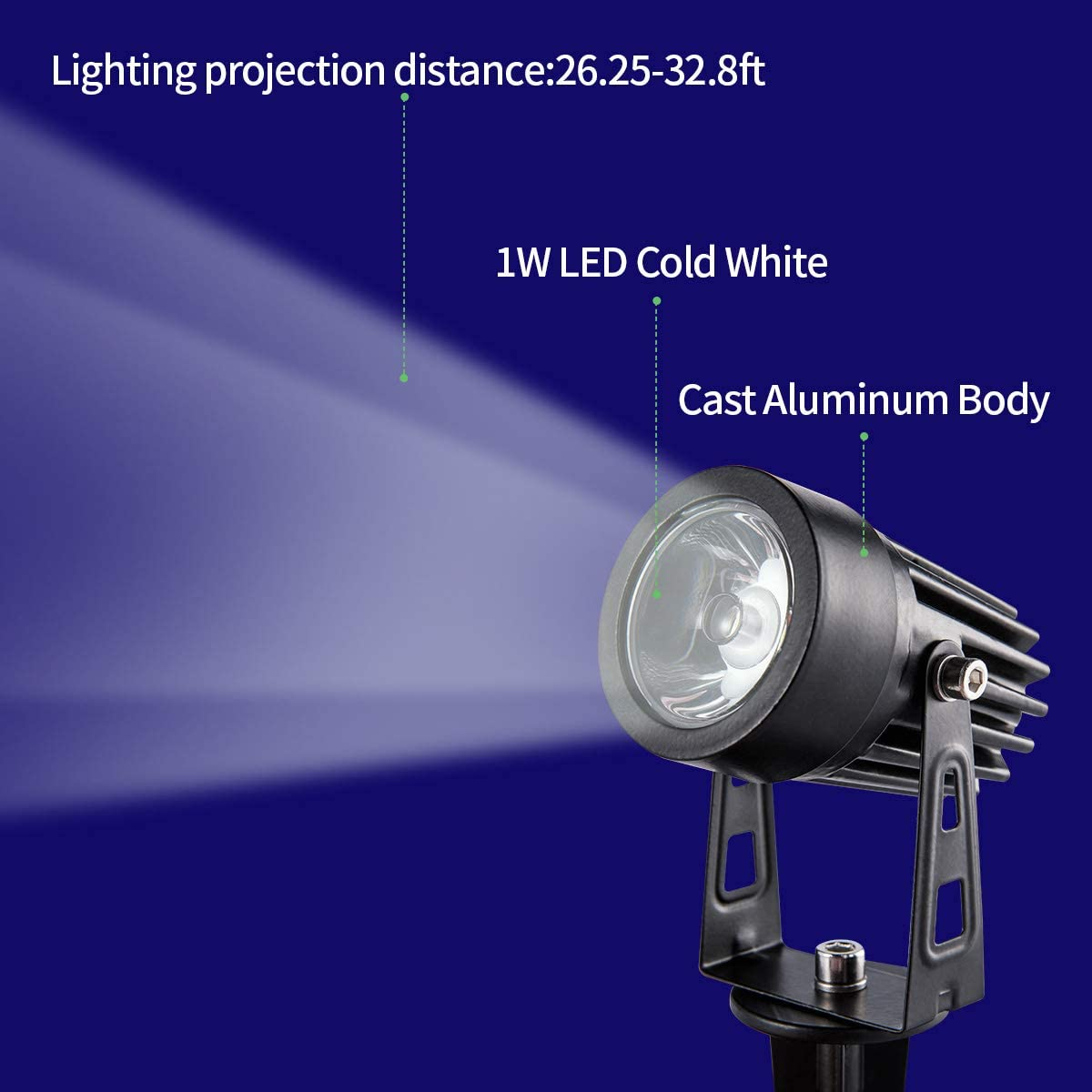 Solar Lights Outdoor 4 Heads Spotlights Adjustable Wall Lamps Bright Solar Landscape Lighting Auto On Off Waterproof Security Lights for Patio Garden Yard Deck Trees etc. Cold White