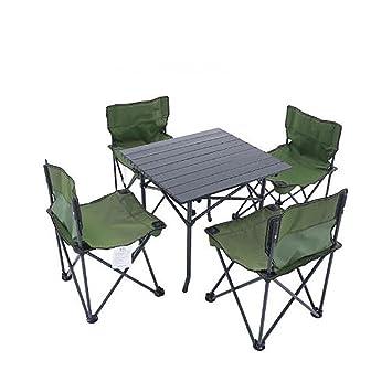 KOKR Portátil plegable sillas de mesa de camping kit, Mesita ...