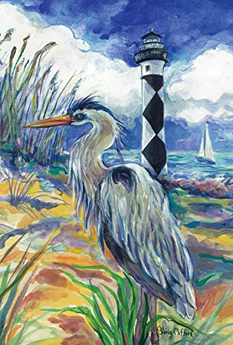 Toland Home Garden Lighthouse Heron 28 x 40 Inch Decorative Summer Beach Bird Sea Shore House Flag