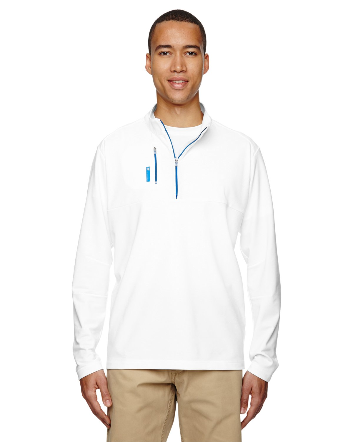adidas Men's Pure Motion 1/4 Zip with Textured Inserts, White/Bright Royal, Small