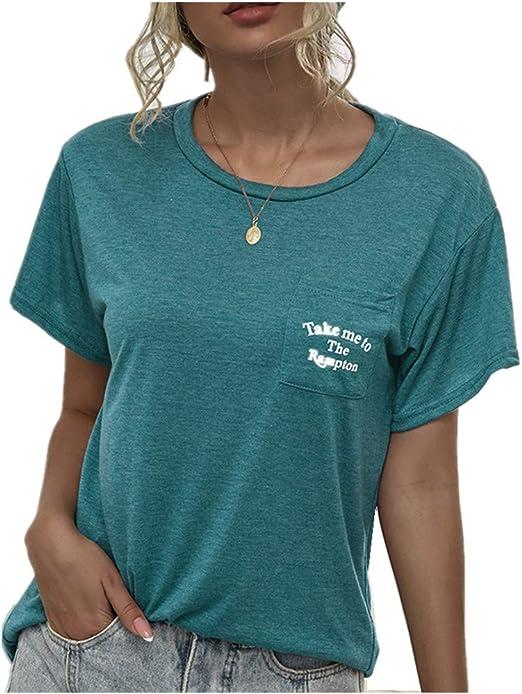 x8jdieu3 Camisa Verano ImpresióN Y TeñIdo Bolsillo Costura Cuello Redondo Salvaje Urbano Casual Camiseta De Manga Corta Tops Mujer: Amazon.es: Ropa y accesorios