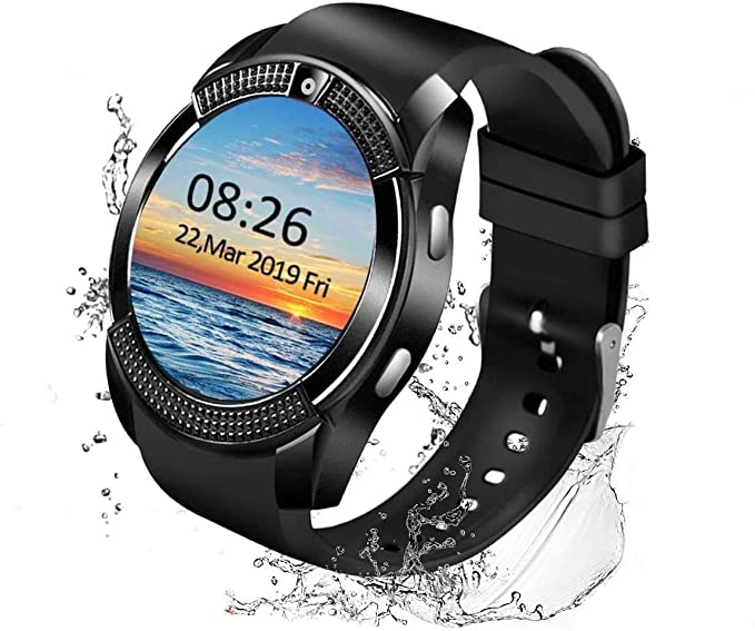 Smart Watch Android Smartwatch Touch Screen Bluetooth Smart Watch For Android Phones Wrist Phone Watch With Sim Card Slot Camera Waterproof Sports Fitness Tracker Watch For Men Women Kids Black