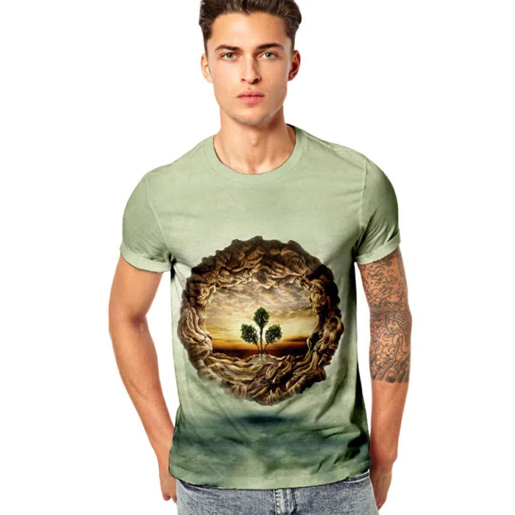 Palarn Mens Fashion Sports Shirts Mens Funny 3D Printing Fitness Elastic Short Sleeve T-Shirt Top Blouse