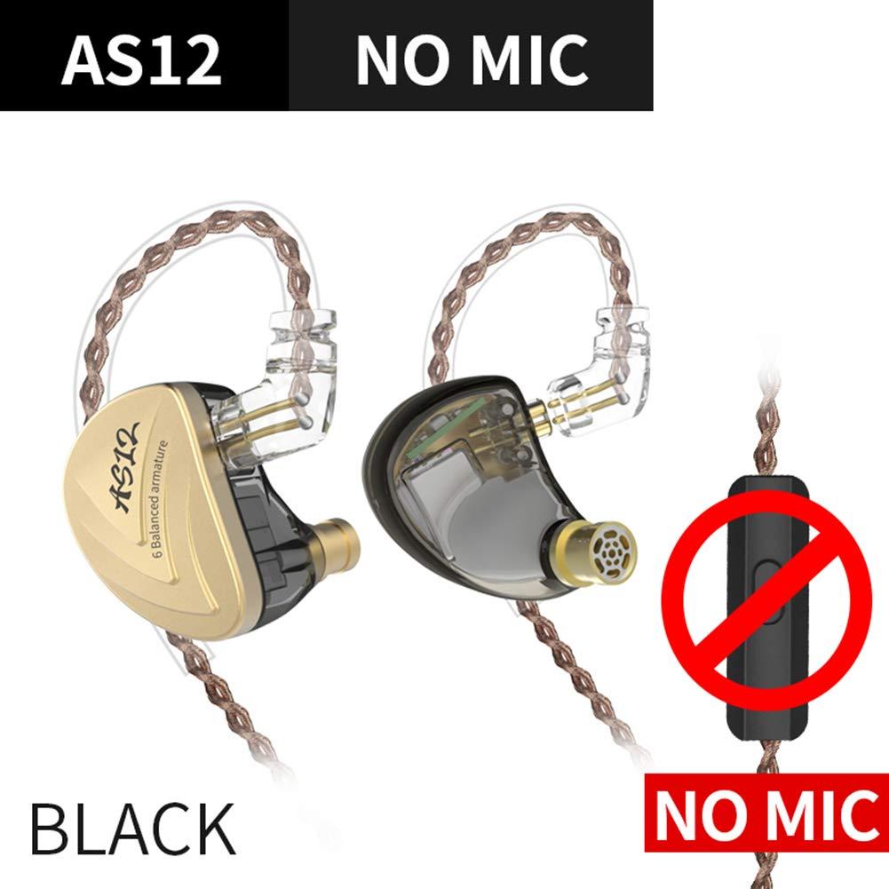 WYKsoku Bluetooth Earphones Headphones, KZ-AS12 12 Units in-Ear Noise Reduction HiFi Detachable Ear Hook Wired Earphones - Black Without Mic