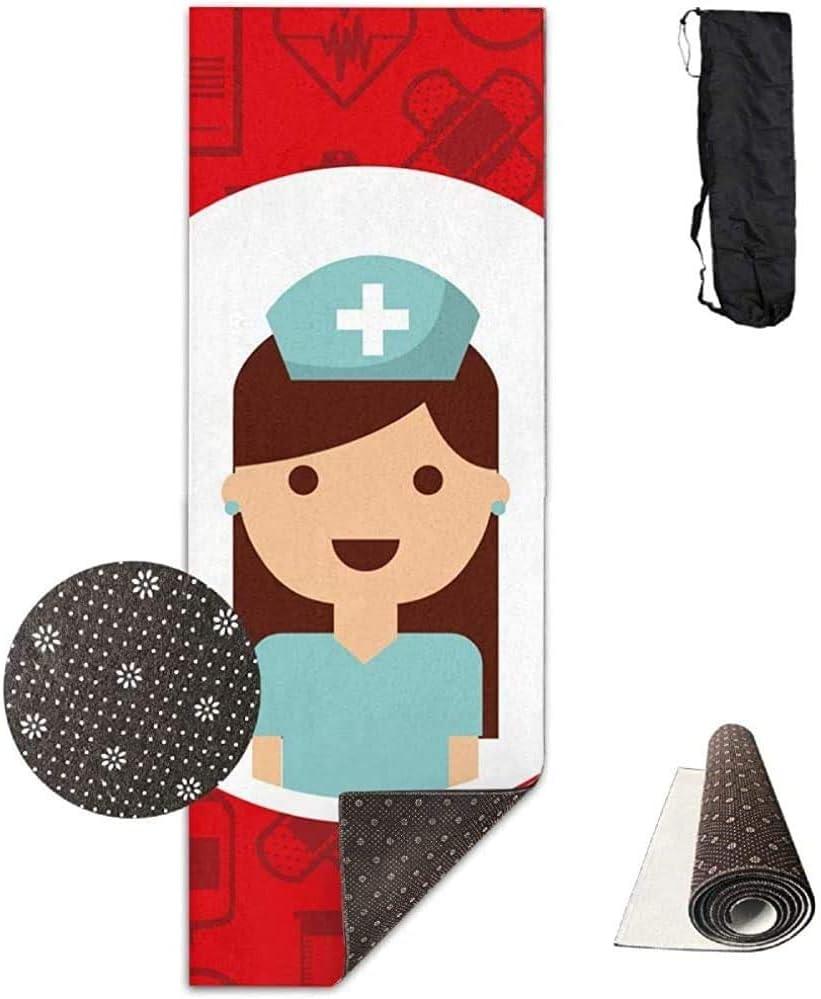 Colchoneta de Entrenamiento, Enfermera médica Mujer Elegante Ejercicio Impreso Yoga esteras para el hogar Yoga Interior 61cmx180cm