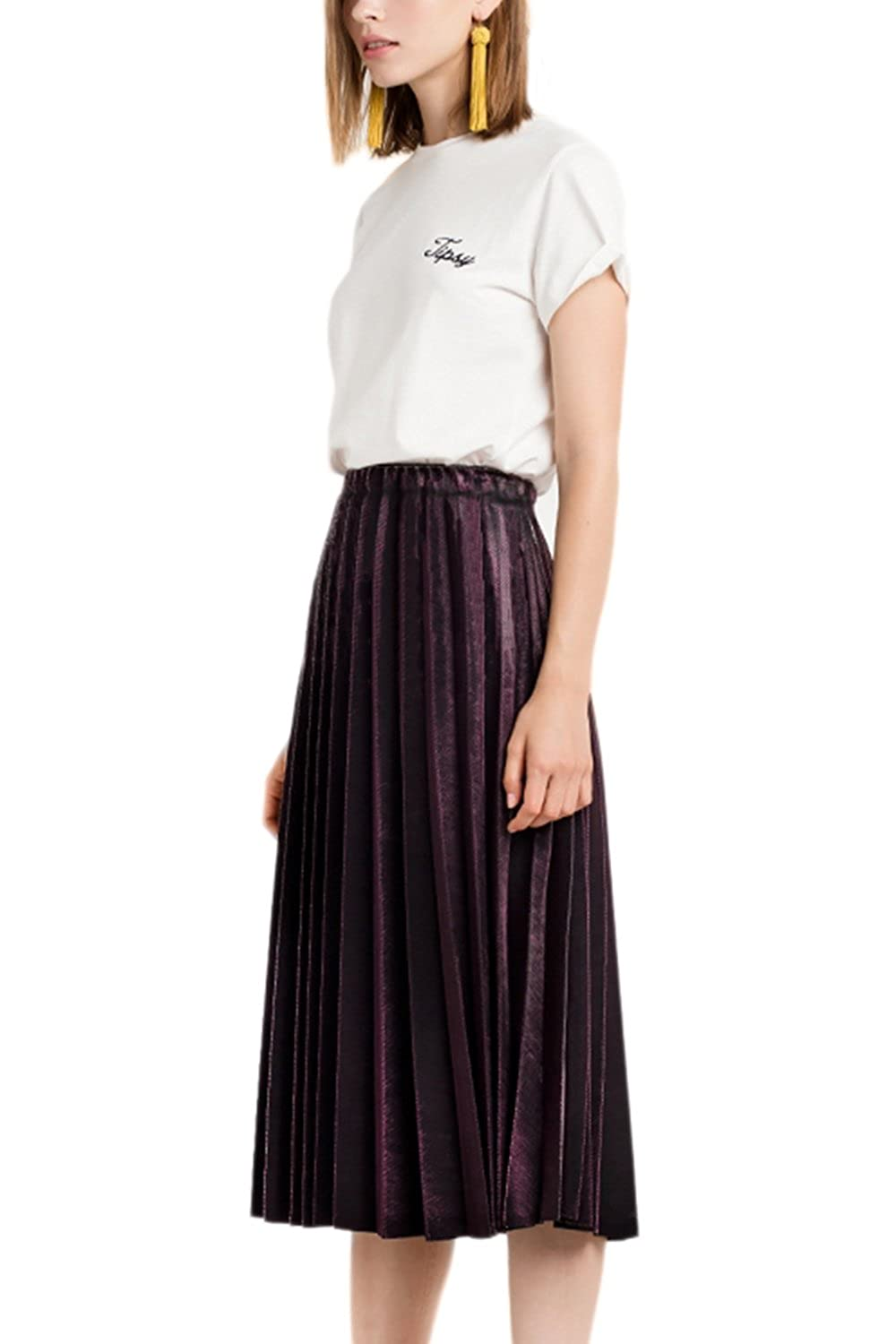 Women Solid High Waist Pleated Fit And Flare Swing Velvet Maxi Skirt CANZ1023-Black-F