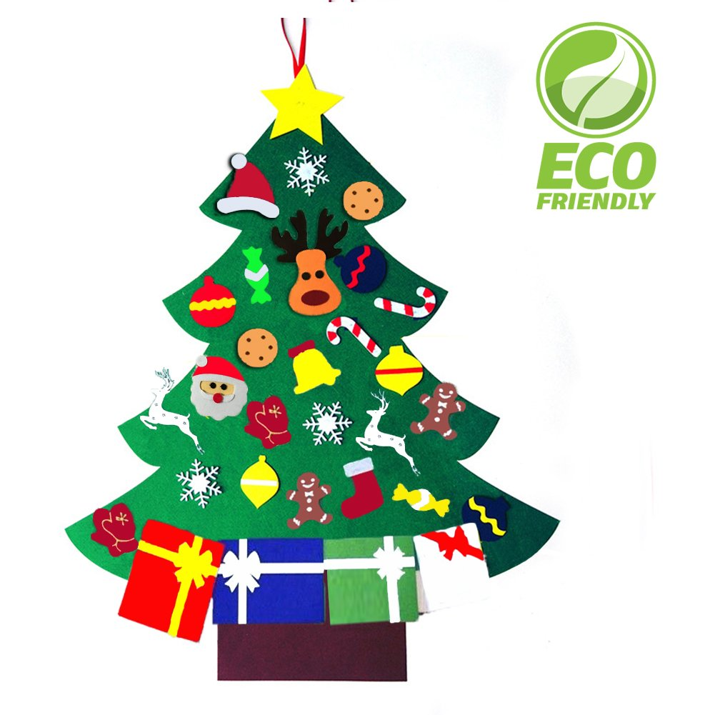 3FT Felt Christmas Hanging Tree Set with 30 PCS Ornaments for Xmas Gifts New Year DIY Door Wall Velcro Decorations Handmade Kids,Toddlers, Offices, Homes and Schools