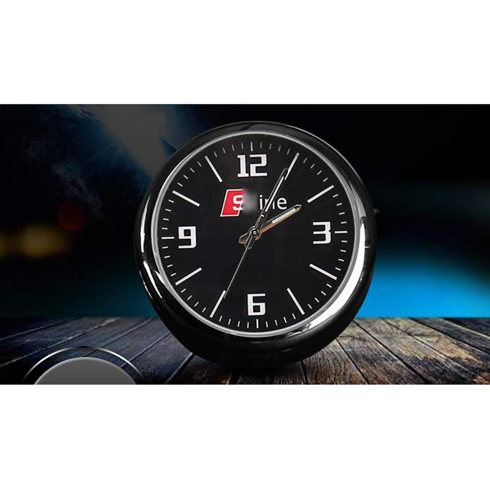 YYD Orologio per Auto ad Alta precisione Orologio al Quarzo di Bordo Rotondo Piccolo Decorazione Auto Perfetta con Logo Auto,A/_UDI