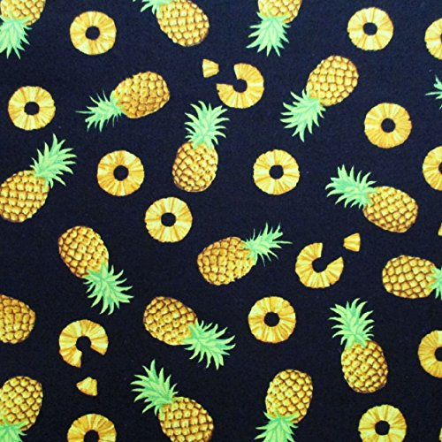 Pineapple Fruits Cotton Fabric Yellow Pineapple on Black Fabric By the Yard (1 Yd) (CT639)