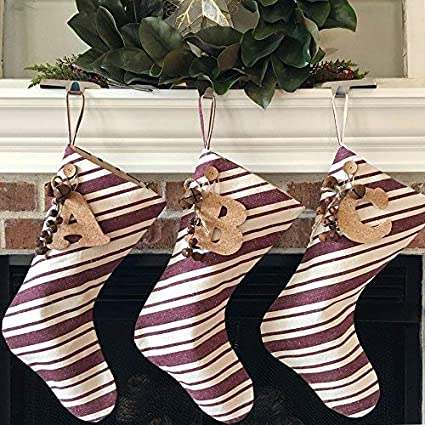 d2b1031e6e5 Jubilee Creative Studio 18 quot  Dark Red Stripe Rustic Christmas Stocking  with Personalized Letter Charm and