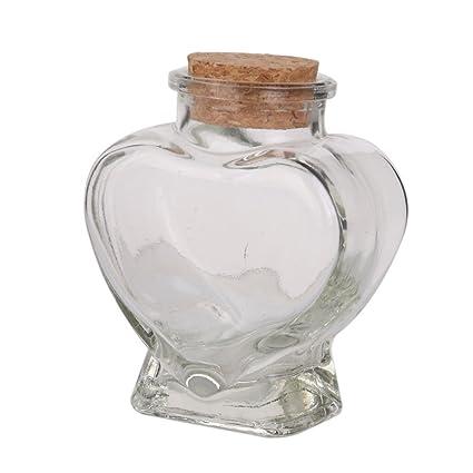 Mini forma de corazón Botella de vidrio Tarros de almacenamiento transparente Contenedores de botellas Viales Botella