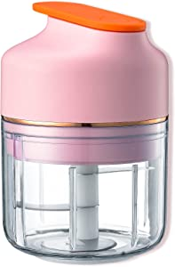 EUNA Electric Garlic Chopper, USB Charging Mini Food Processor, Portable Garlic Mincer Mini chopper for Garlic/Vegetables/Spices/Salad/Baby Food, Powerful Cutting, Long Battery Life, 250ML, Pink