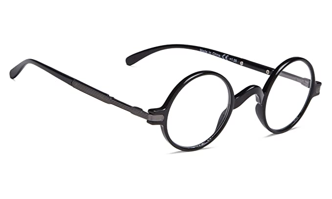 b063184ea26d Amazon.com  Vintage Round Reading Glasses Professor Readers (Black ...