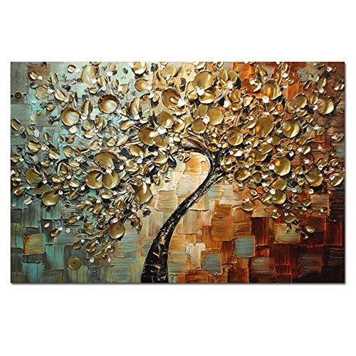 H.COZY Thick-Ölgemälde handgemalten strukturierten Paletten-Messer-Leinwand-Malerei Dick Messer der Segeltuch-Ölgemälde Goldblumen auf Home Decoration (ohne Rahmen)